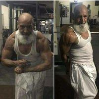 Kakek dari Pakistan ini sedang berpose dengan otot-ototnya. (Foto: Instagram/oldbodybuilder)
