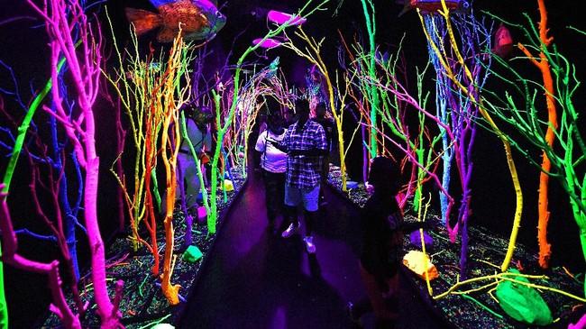 Pameran seni tersebut dibuka pada 17 Maret lalu, setelah selama dua tahun digarap oleh lebih dari 100 seniman. (AFP PHOTO/Mark Ralston)