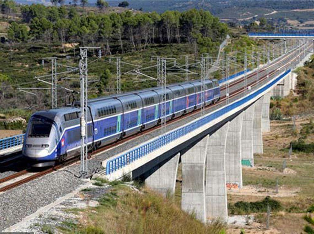 TGV di Prancis dengan kecepatan 318 km/jam. Kereta ini dioperasikan oleh Societe Nationale des Chemins de Fer (SNCF). (Chinadaily)