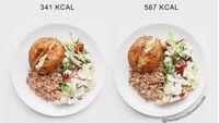 Pemilik akun @thefashionfitnessfoodie ini membuat seri foto perbandingan jumlah kalori dalam beberapa sajian menu makan. (Instagram: @thefashionfitnessfoodie)