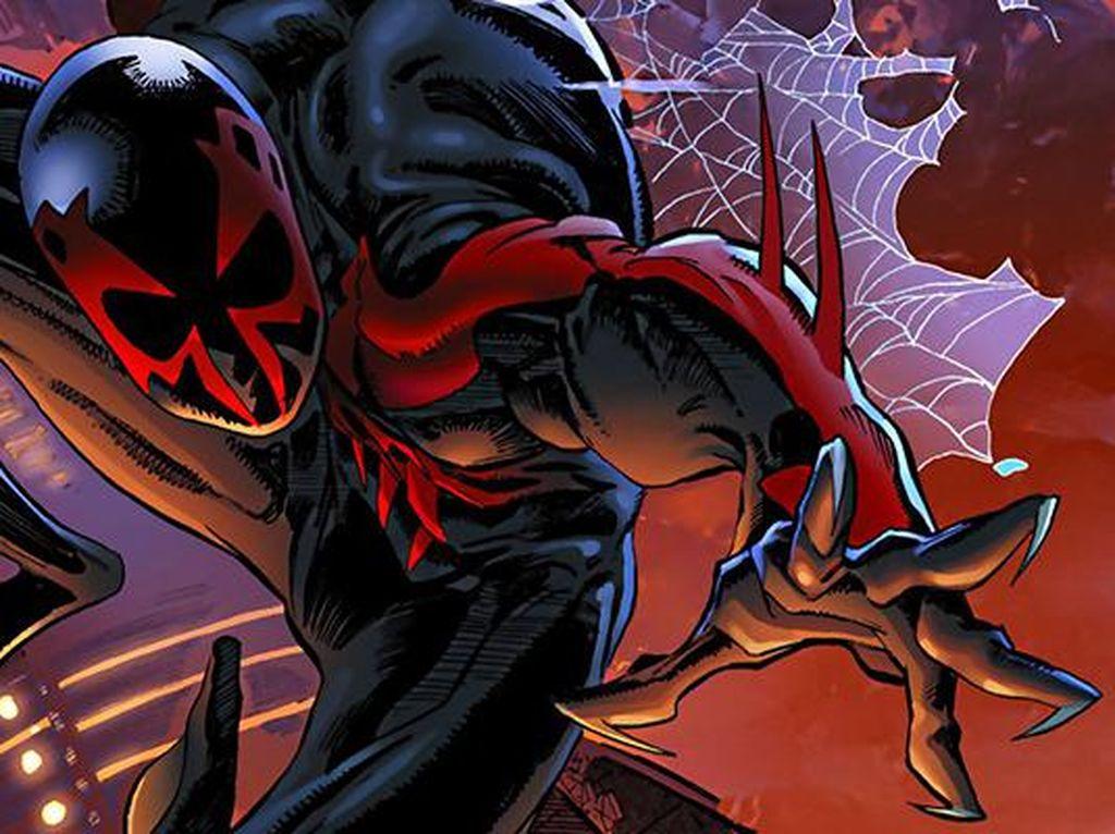 Dbuat tahun 1992, kostum yang menggambarkan Spider-man dari tahun 2099 tidak digunakan oleh Peter Parker. Melainkan seseorang bernama Miguel OHara. Foto: istimewa