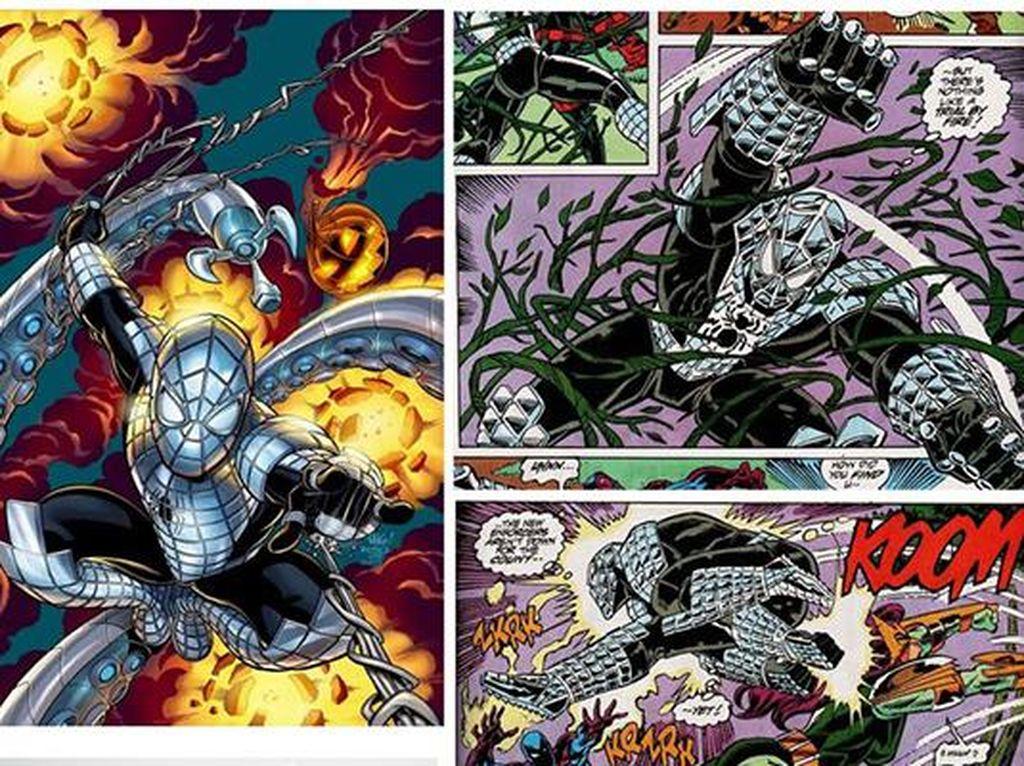 Kostum ini dinamakan Armored Spider-Man dan dibuat tahun 1993. Spider-Man disebut bisa menahan berbagai serangan ketika menggunakan kostum ini, namun bobotnya bikin karakter Marvel ini bergerak lebih lambat. Foto: istimewa