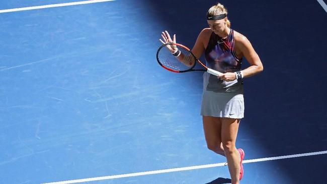 Petra Kvitova yang kalah di perempat final dari Venus Williams, mengenakan kostum Nike Fall Slam NYC Tank di Amerika Serikat 2017. (Abbie Parr/Getty Images/AFP)