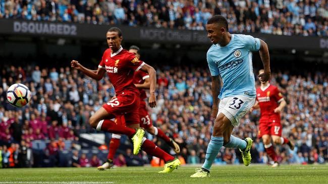 Gabriel Jesus mencetak gol keduanya pada menit ke-53 setelah menerima umpan sodoran Sergio Aguero dan membawa Manchester City unggul 3-0. (Action Images via Reuters/Lee Smith)