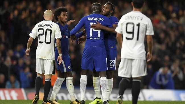 Lima gol Chelsea lainnya dicetak Pedro Rodriguez, Cesar Azpilicueta, Tiemoue Bakayoko, Michy Batshuayi, dan bunuh diri Maksim Medvedev. (Action Images via Reuters/Tony O'Brien)