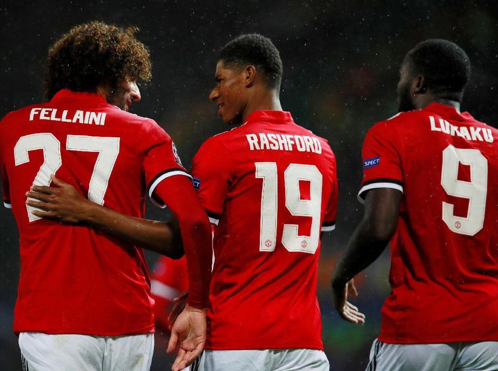 Inilah trio pencetak gol MU dalam kemenangan atas Basel. (Foto: Jason Cairnduff/Action Images via Reuters)