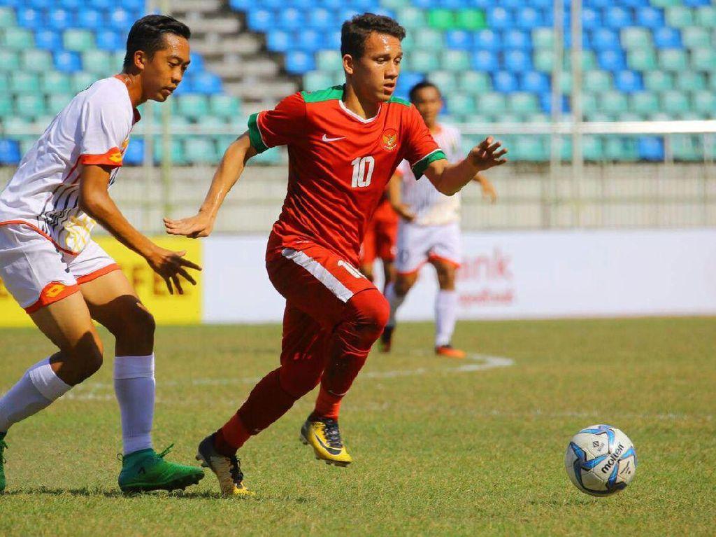Menghadapi Brunei di Stadion Thuwunna, Yangon, Myanmar, Rabu (13/9/2017) sore, Indonesia sudah unggul 6-0 di babak pertama. Gol-gol Indonesia dicetak oleh M Rafli (3), Egy Maulana Vikri (2), Witan Sulaeman. Foto: dok. Humas PSSI