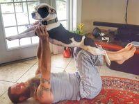 Tak sekadar menemani Anda latihan yoga, hewan peliharaan juga sering digunakan untuk membantu melakukan gerakan yoga. (Foto: instagram/beardlifeisgood)