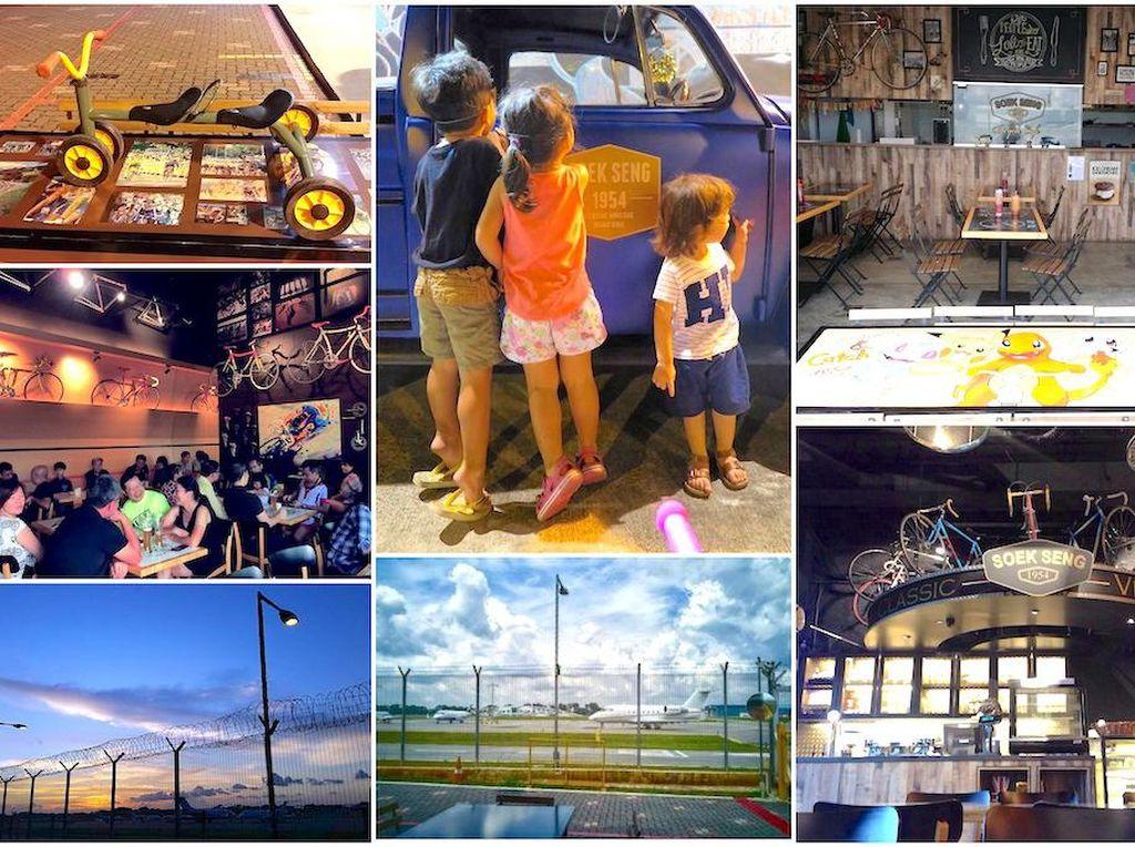 Si kecil suka pesawat terbang atau sepeda? Mampirlah ke Soek Seng 1954 Bicycle Cafe di Seletar Aerospace View. Mereka bisa melihat pesawat lepas landas sambil menikmati interior kafe yang serba sepeda. Foto: Singapore Motherhood