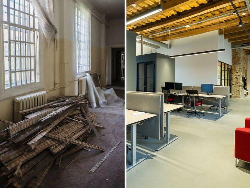 Begini penampakan sebelum dan sesudah dari bangunan rumah sakit di sebuah kota di Vilnius, Lituania, yang sukses disulap menjadi kantor kekinian yang modern. Istimewa/Boredpanda.