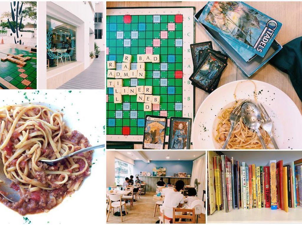 Mau makan pasta sambil baca buku dan main scrabble? Mampirlah ke The Living Room di Bishan Street. Menunya bervariasi dan lezat seperti nonya curry chicken, pasta, pizza dan burger. Foto: Singapore Motherhood