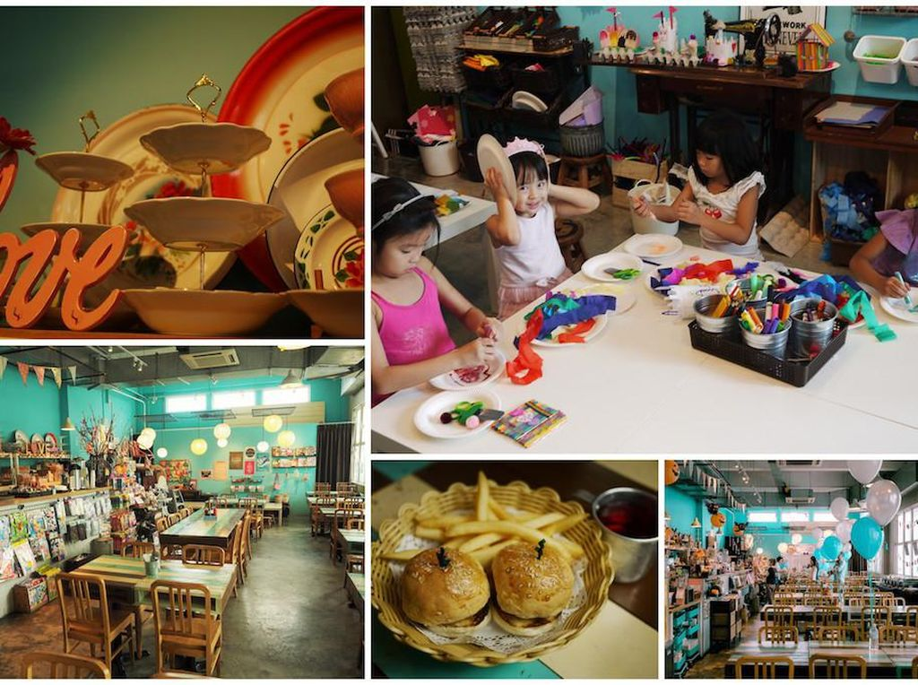 Sesuai namaya, Eat Play Love memungkinkan si kecil makan dan puas bermain. Apalagi untuk mereka yang senang membuat kerajinan tangan seperti menggunting, mengelem dan lainnya. Eat Play Love ada di Aliwal Arts Center. Foto: Singapore Motherhood