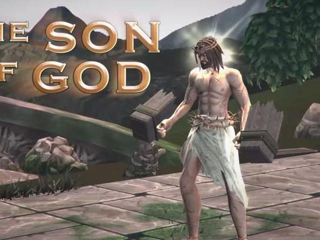 Tak puas sampai di situ, developer game ini juga menghadirkan Yesus sebagai salah satu karakter dalam game. Foto: Screenshot Fight of Gods