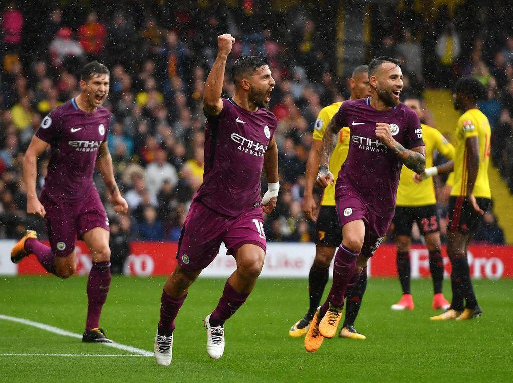 Watford 0-6 Manchester City (16 September 2017). City menegaskan statusnya sebagai salah satu kandidat juara dengan pesta enam gol tanpa balas di markas Watford. Hasil di pekan kelima ini membawa City naik ke posisi pertama klasemen dan bergeming di sana. (Dan Mullan/Getty Images)