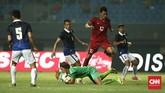 Meski tak mendapatkan poin FIFA, Timnas Indonesia tetap menjalani laga ini dengan penuh gairah sebagai bagian dari periodesasi persiapan panjang menuju Piala AFF tahun depan.(CNN Indonesia/Adhi Wicaksono)