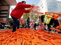 The Local melaporkan, para pedagang tembakau mengirim sekitar 1,2 ton wortel ke Kementerian Kesehatan Prancis baru-baru ini. (Foto: REUTERS/Philippe Wojazer)