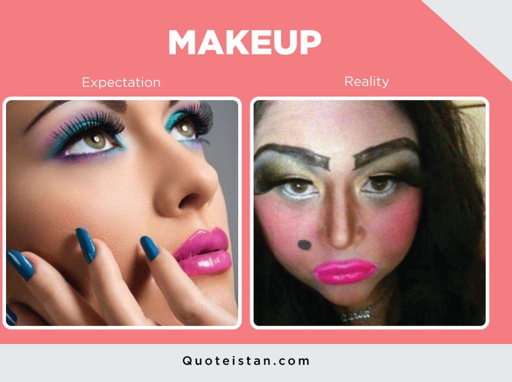 Kocak, 8 Foto Ini Gambarkan Makeup Harapan Vs Realita