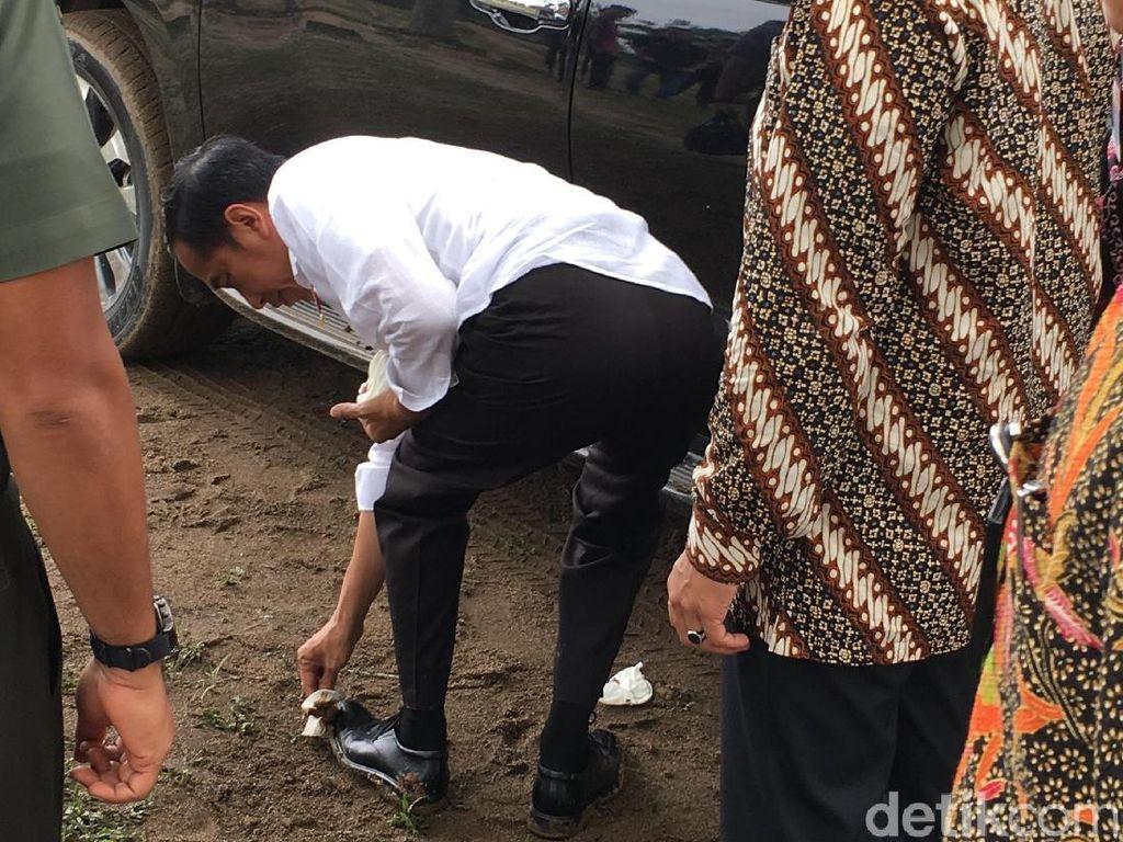 Bermodal tisu basah, Jokowi membersihkan sendiri sepatu berwarna hitam tersebut. Foto: Jordan/detikcom