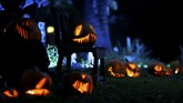Tidak ketinggalan, hiasan labu oranye yang diukir wajah seram juga menjadi dekorasi Halloween setiap tahunnya. (REUTERS/Mario Anzuoni)
