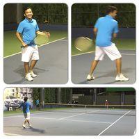Selain menerapkan pola diet sehat dan menginspirasi orang-orang yang punya masalah dengan berat badan, ia juga jadi rajin melakukan olahraga, salah satunya olahraga tennis. Foto: Instagram @ruben_onsu