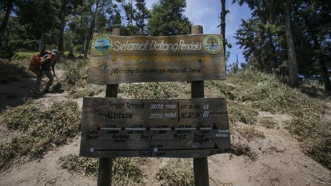 Papan selamat datang di Taman Nasional Gunung Merapi, Boyolali, Jawa Tengah.