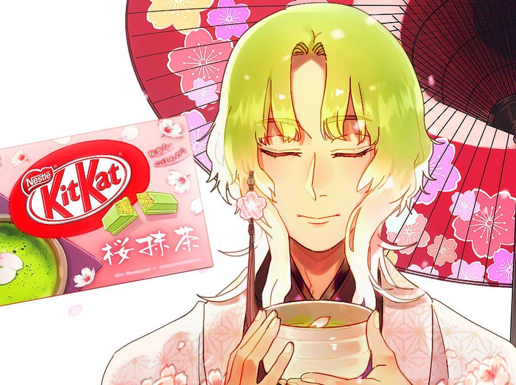 Kit Kat Sakura Matcha terlihat manis dengan sentuhan warna hijau khas matcha dan pink khas bunga sakura. Begitu juga dengan sosok animenya.Foto: Cioccolatodorima