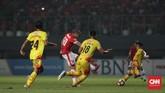 Persija Jakarta sebenarnya bermain apik di babak pertama, namun sejumlah usaha yang dilakukan, termasuk melalui Bruno Lopes pada menit ke-38 gagal membuahkan hasil. (CNN Indonesia/Adhi Wicaksono)