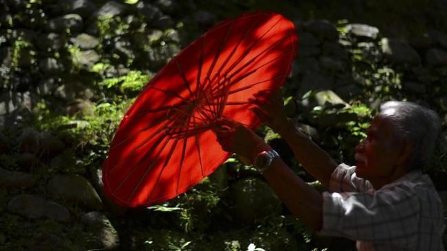 Meski dikenal luas dan permintaan payung semakin meningkat, namun menurut Aah pendapatan perajin payung tidaklah besar. Hal ini membuat generasi muda di kampung itu termasuk anak Aah memilih pekerjaan lain dari pada meneruskan tradisi keluarga. (ANTARA FOTO/Adeng Bustomi)