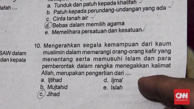 Kemenag Anulir Soal Ujian Fikih Bermuatan Jihad dan Khilafah