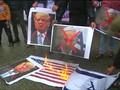 VIDEO: Aksi Warga Palestina Bakar Foto Trump dan Bendera AS