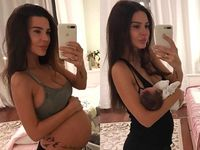 Lihat dong perbandingan tubuhnya ketika masih mengandung dan sesaat setelah melahirkan! Tak berbeda jauh, bukan? (Foto: Instagram/samoylovaoxana)