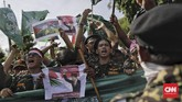 Mereka mengecam dan mengutuk kebijakan AS dengan menyatakan Yerusalem sebagai ibu kota Israel.(CNN Indonesia/Adhi Wicaksono).