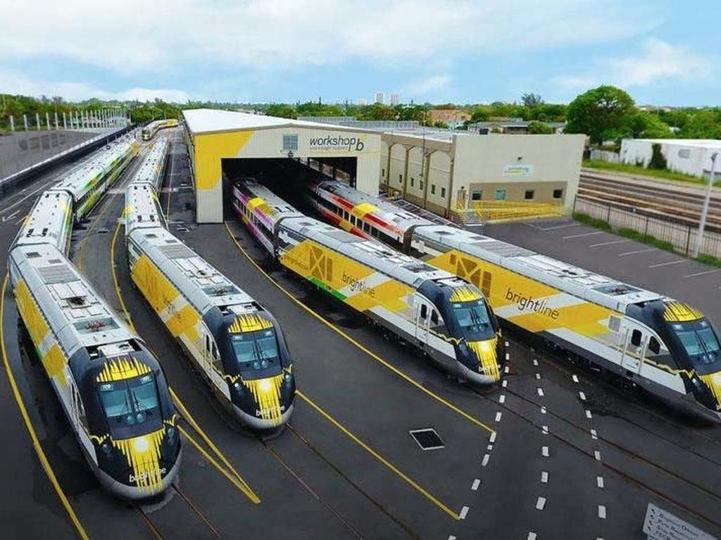 Brightline, yang dimiliki oleh Florida East Coast Industries, akan menjadi kereta cepat pertama di Amerika Serikat. Inhabitat/Istimewa.