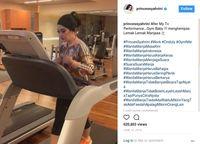 Usai tampil di TV pun Syahrini juga menyempatkan diri untuk berolahraga.