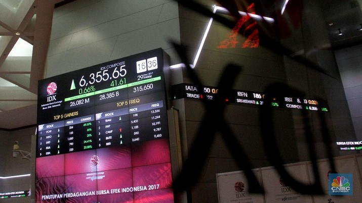 Presiden Joko Widodo resmi menutup perdagangan bursa tahun 2017 di Bursa Efek Indonesia, Jakarta, Jumat (29/12/2017). Perdagangan bursa ditutup menguat pada angka 6,355