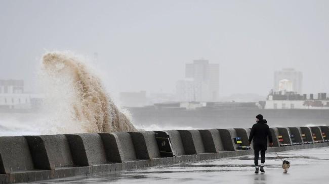 Seorang pria berjalan-jalan dengan anjingnya sementara ombak besar menerpa pembatas di tepi pantai New Brighton, Inggris. Saat itu Inggris diterpa badai Eleanor yang disertai angin berkecepatan lebih dari 100 kilometer per jam, hujan deras, kilat dan guntur. (AFP PHOTO / Paul ELLIS)