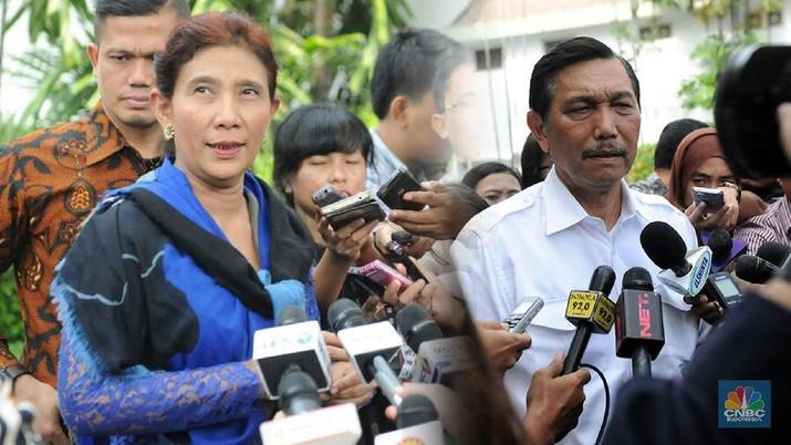Jokowi di Tengah 'Kapal' Menteri Luhut dan Susi
