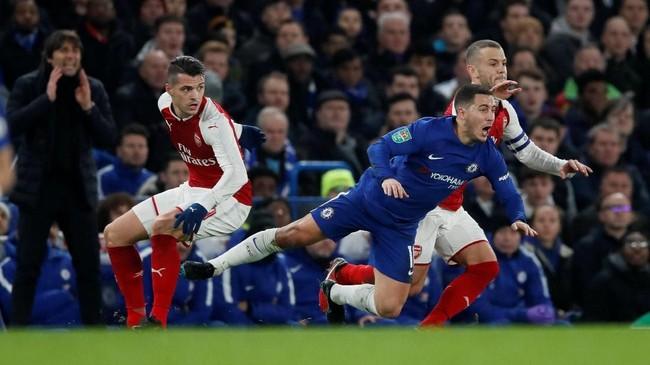 Chelsea mendominasi jalannya pertandingan semifinal leg pertama dan menciptakan sejumlah peluang yang mengancam gawang Arsenal. (REUTERS/David Klein)