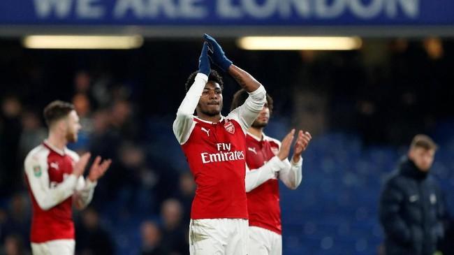 Arsenal selanjutnya akan menjamu Chelsea di Stadion Emirates pada leg kedua semifinal Piala Liga Inggris, 24 Januari mendatang. (Reuters/John Sibley)