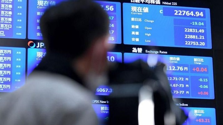 Indeks Nikkei 225 ditutup melemah 0,90% ke level 21.480,90 poin dan indeks Topix juga ditutup melemah 0,96% atau 16,66 poin ke level 1.719,97 poin.