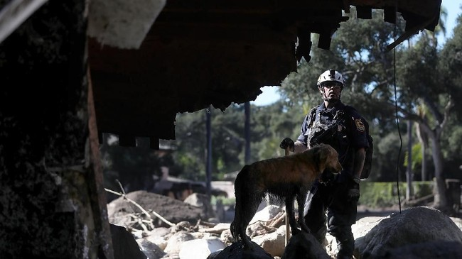 Kepolisian menyatakan setidaknya 300 orang terperangkap di daerah tebing dan petugas sedang berupaya menyelamatkan mereka menggunakan helikopter. (Justin Sullivan/Getty Images/AFP)