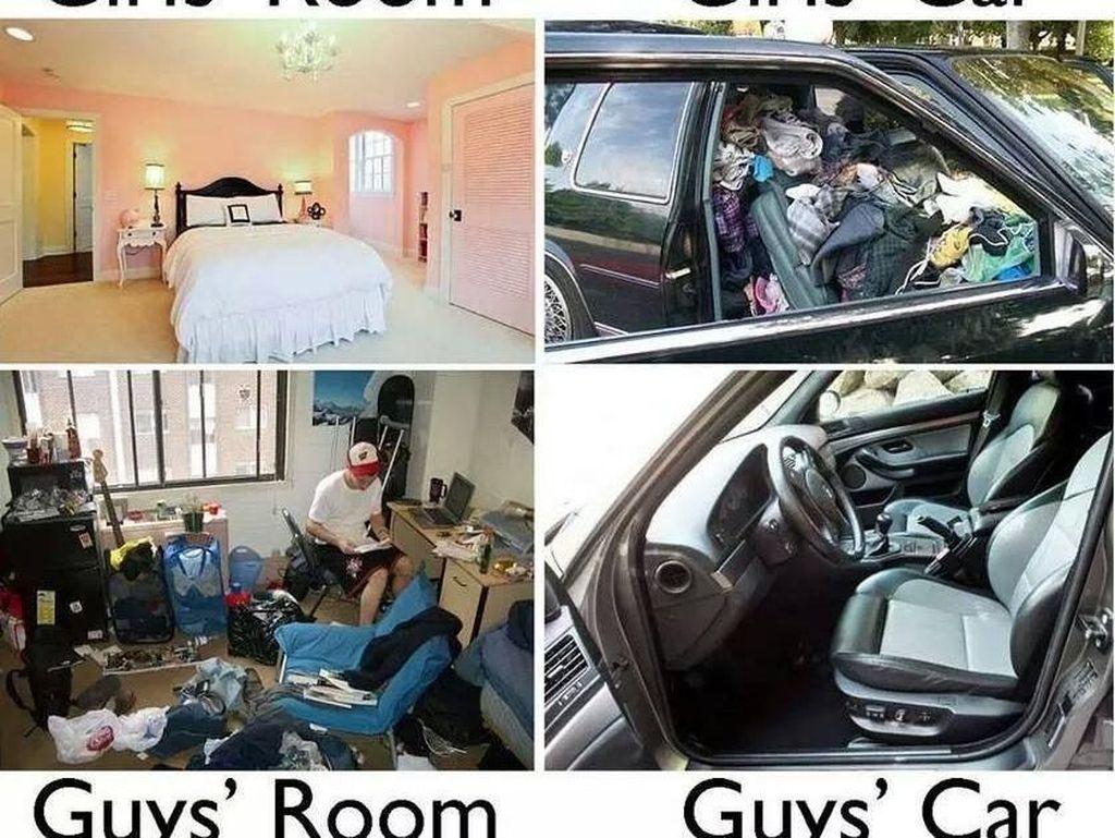 Kalau di meme ini kamar wanita digambarkan bersih, mobilnya berantakan. Kalau lelaki sebaliknya. Foto: istimewa