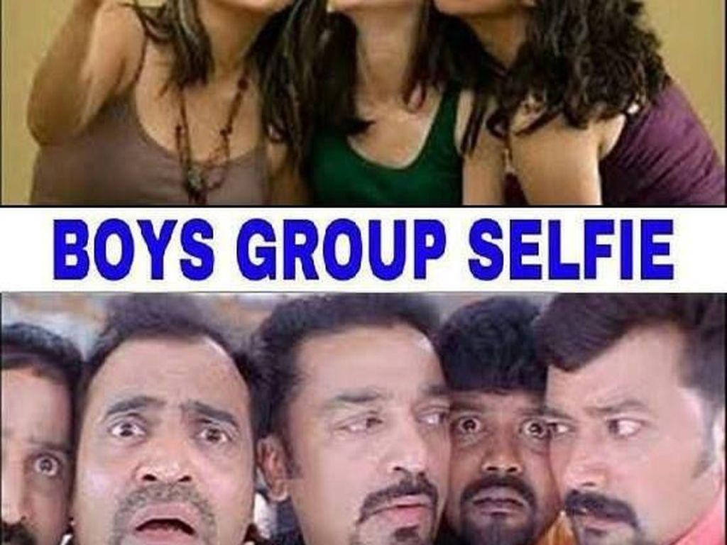 Selfie wanita bisa macam-macam ekspresinya,pria biasanya datar saja. Foto: istimewa