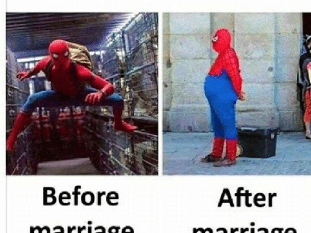 Kata orang, pria jadi buncit kalau sudah menikah seperti tergambar dalam meme Spiderman ini. Foto: istimewa