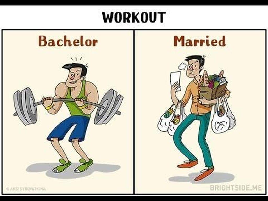 Saat masih single membawa beban berat ketika olahraga di gym, setelah menikah beban berat yang harus dibawa adalah barang belanjaan. Foto: istimewa