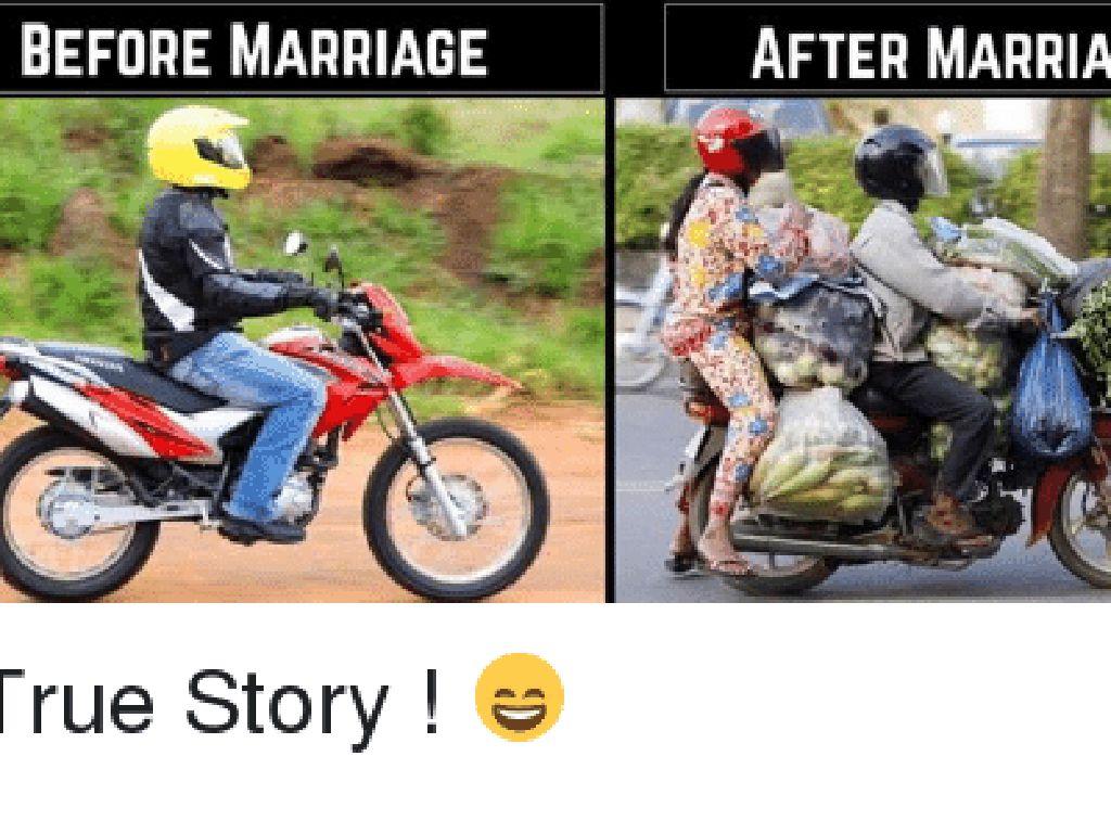 Naik motor sendirian pas masih jomblo. Habis nikah jadi mengangkut istri berikut barang belanjaan. Foto: istimewa