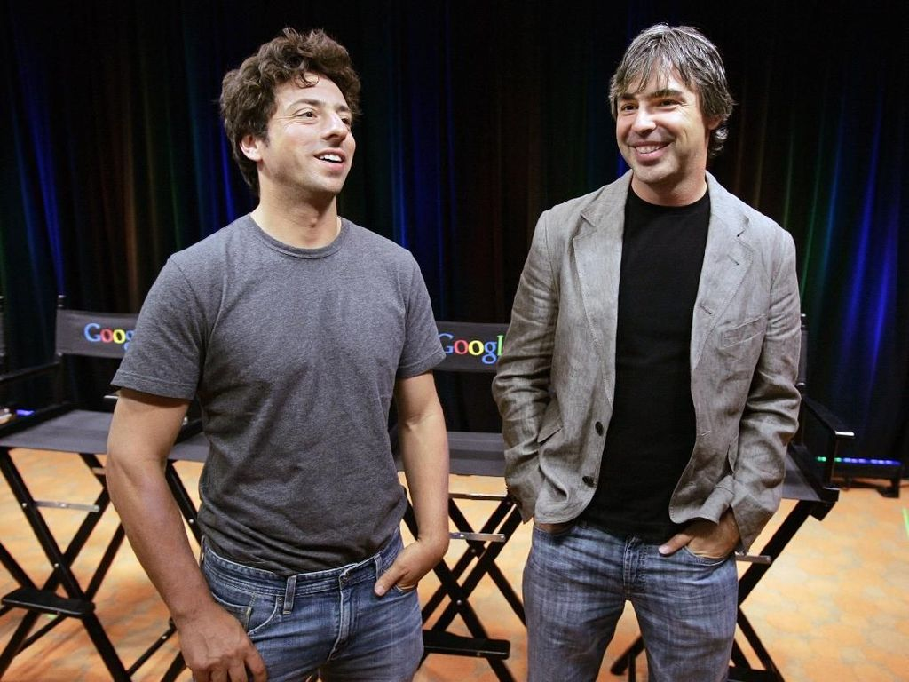 Sergey Brin dan Larry Page sekarang, menjadi duet powerful di dunia teknologi seiring Google meraksasa. Foto: istimewa
