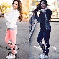 Jessica membagikan foto perbedaan saat dirinya hanya masih olahraga kardio saja dibandingkan dengan ditambah latihan beban. (Foto: Instagram/jessicaenslow)