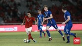 Penyerang muda Timnas Indonesia Egy Maulana Vikri juga mendapat menit bermain di babak kedua saat melawan timnas Islandia. (CNN Indonesia/Andry Novelino)