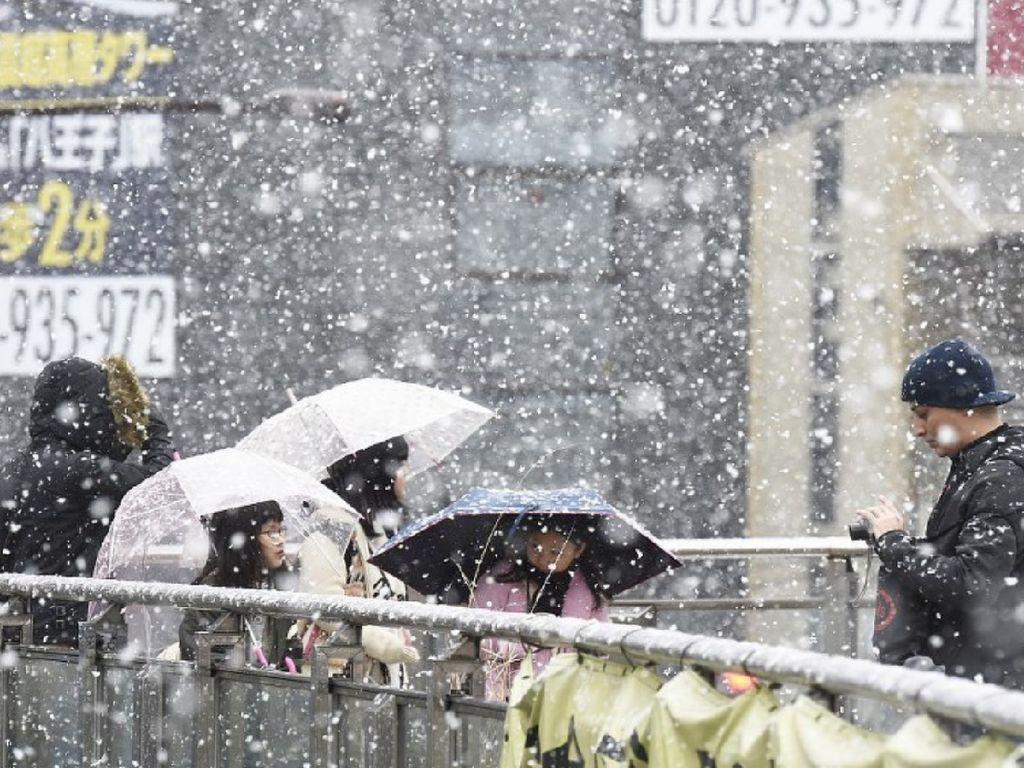 Salju lebat mulai turun di Hachioji, Tokyo, sekitar pukul 10.40 waktu setempat, 22 Januari 2018. Ketebalan salju disebutkan sekitar 10 cm. Hal yang sangat jarang sekali terjadi di Tokyo. (Foto: Dok. The Mainichi)